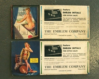 Vintage Pair of 1940s Gil Elvgren Promotional Trading Cards/Advertisement Cards for The Emblem Company