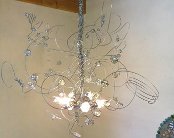 Wire Chandelier LED, transparent glas MARBLES,  pendant light, hanging lamp, handmade, Marble Tree