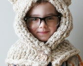 DIY Knitting PATTERN - Chunky Kitty Hood in Toddler, Child and Adult Sizes (hat011)