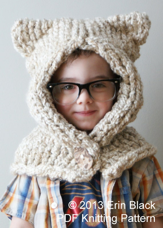 Childrens Hood Knitting Pattern : DIY Knitting PATTERN Chunky Kitty Hood in Toddler Child and