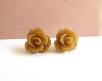 Light Brown Rose Earrings