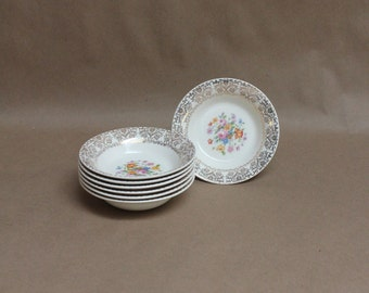 Vintage Royal Heirloom Floral Bowls- Set of 7- Vintage Home Decor