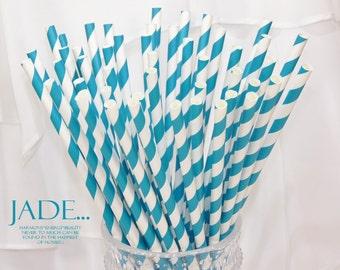 JADE Paper Straws, 50 Jade Blue-Green  Striped Paper Straws,  Mermaid Party, Wedding, Events, Cake Pops, Pixie Sticks