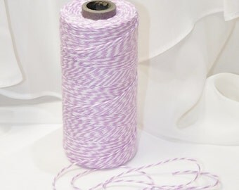 LAVENDER Trendy Collection Cotton Twine  - 12 Yards  Color Twisted Twine - Invitations Packages, Homemade Tags, Crafts, Shower, Party