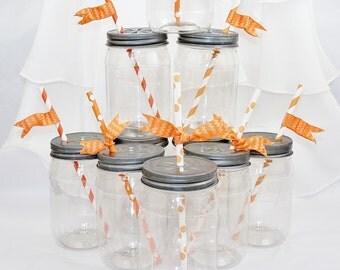 Plastic Mason Style Jar & Free Chalkboard Labels 40 BPA FREE Plastic Jars/ Daisy LIDS Wedding, farm, Cowboy party, Pool, Beach, School, Kids