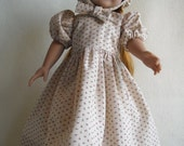 Beige Printed Calico Dress with Matching Bonnet