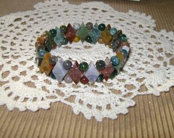 Vintage Earth-Tone Multicolored Precious Stone Expandable Bracelet