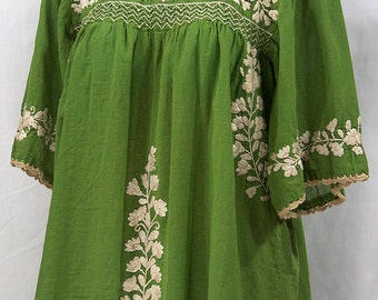 "Mexican Peasant Blouse Top Hand Embroidered: ""La Marina"" Fern Green"