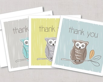 Owl Thank you Cards,Owl Stationary,Bird Thank you,Bird Stationary,Handmade Greeting Card,Thank you Owl Cards,Hand Drawn Card