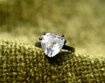 White Sapphire Ring, Trillion Cut White Sapphire and Sterling Silver Ring