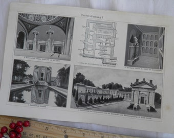 Mausoleum  - German Text Lithograph - 2 Sided