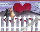 Valentines Kitties In love heart romance - Item V16