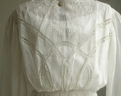 Victorian 1900 Vintage  Lace and Embroidered White Batiste Antique Wedding Dress