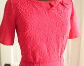 "Glamour Hot Pink/Watermelon Mid Century Kitten Bow Wiggle Sweater Dress 35"" Bust"