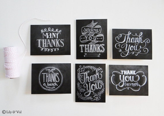 Set of 6 Hand Lettered Thank You Cards - Chalkboard Thank You Cards - Wedding Thank You Cards- Hand Lettered Card Set