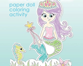 MERMAID paper doll printable coloring activity