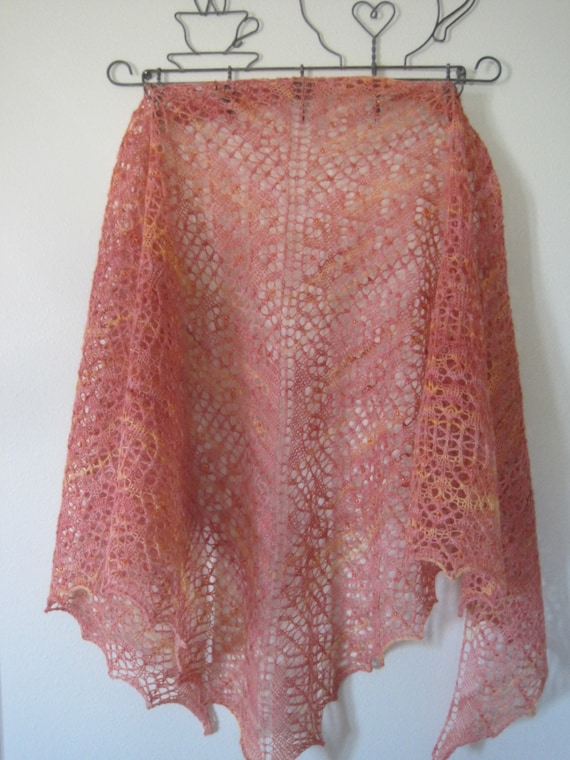 Hand knit Lace Shawl 100% wool yarn Orange and yellow in color with beads