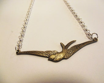 Bronze Swallow Necklace