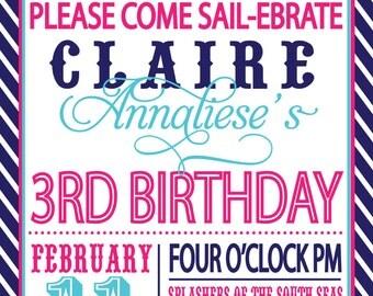 Sailor Girl Nautical Birthday Invitation