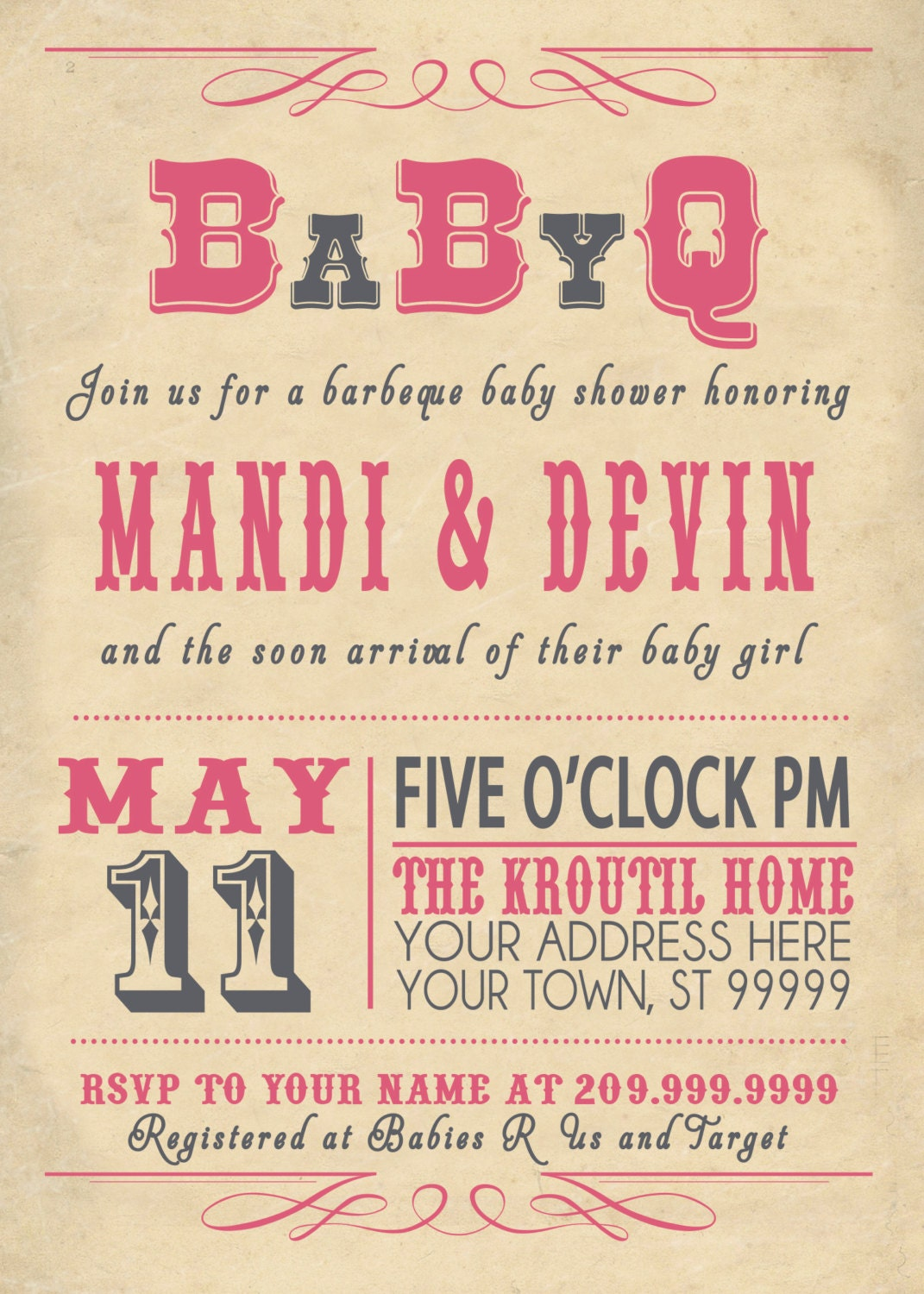 babyq bbq baby shower invitation vintage couples