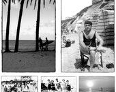 Set of 5 Black / White Beach Photo Postcards | Friends, Kids, Muscles, Surfers, Paddle Board