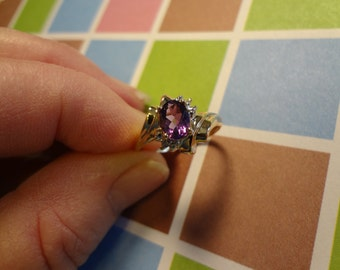 10k Gold Ring Amethyst & Diamond PURPLE Size 7 Gift February Birthstone Birthday Engagement Promise