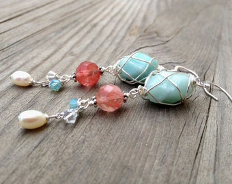 Sterling Silver Wire Wrapped Blue Amazonite Cherry Quartz Dangle Earrings with Freshwater Pearl and Crystal.
