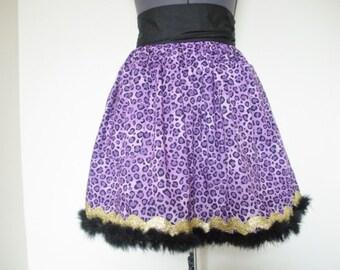 Purple Leopard Print Apron - Rockabilly Apron with Pockets - Clawdeen Inspired Apron