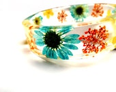 Colorful Resin Bangle Bracelet. Blue, Orange, Yellow Daisy and Real Flower Bangle Bracelet: Cali