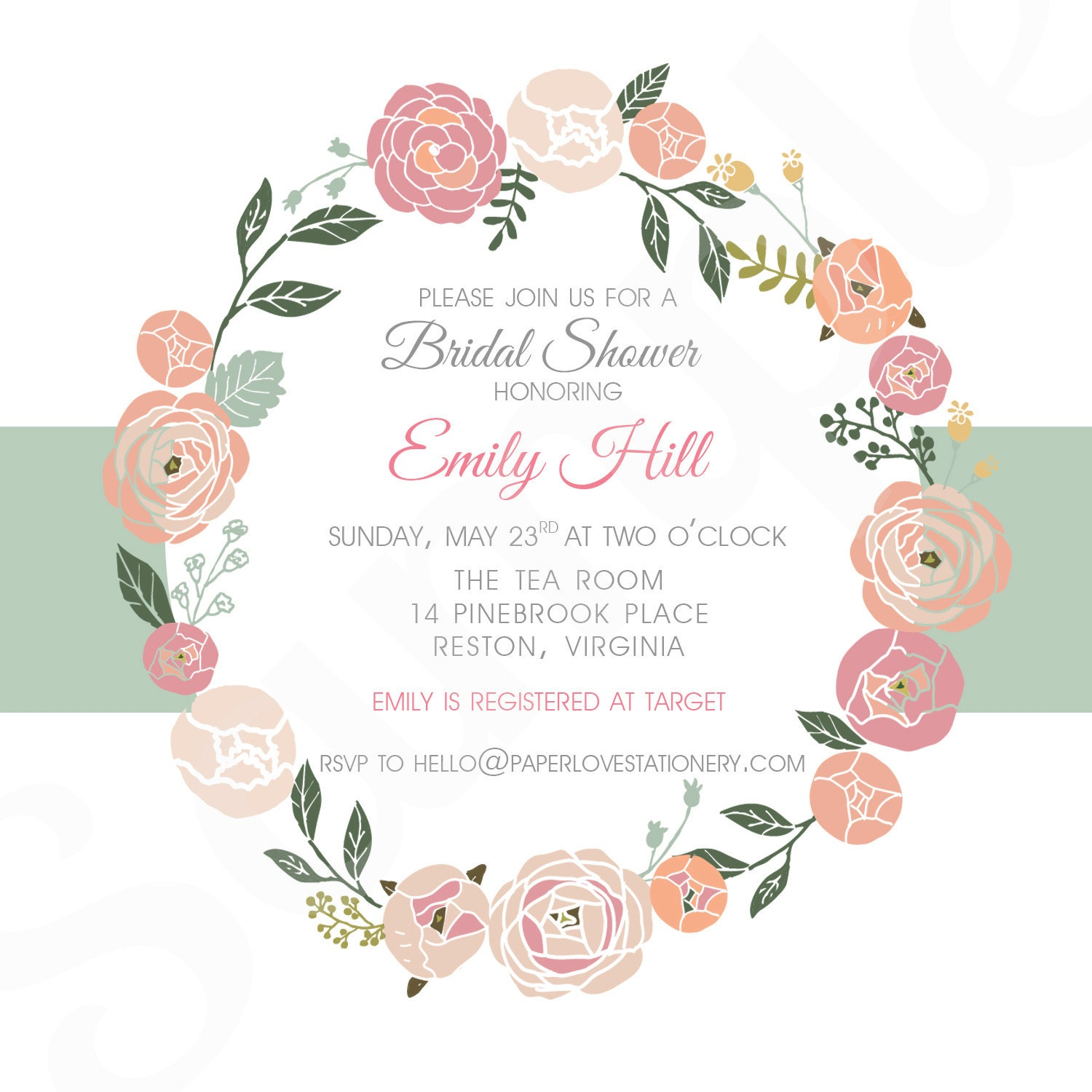 FLORAL WREATH Bridal Shower Invitation by PaperLoveStationery