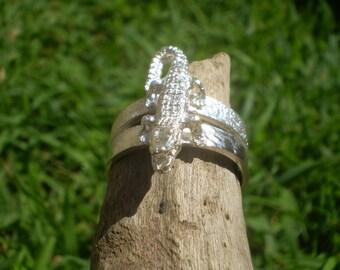 Handmade Alligator sterling silver textured ring