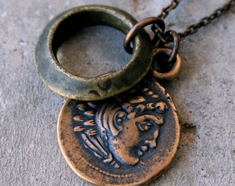 Solid Bronze Greek Coin Necklace - Alexander the Great