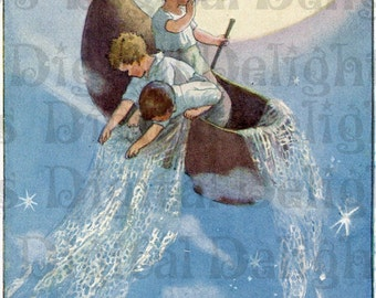 Winken Blinken and Nod.  VINTAGE Nursery Rhyme Illustration.  Mother Goose Digital Download