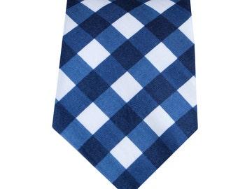 Necktie - Navy Gingham - Men's Necktie