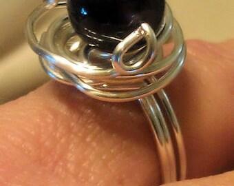 Silver Swirl Amethyst Ring