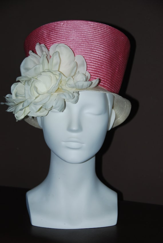 items similar to pink straw mad hatter hat for with