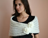 Spring princess -  wedding bridal bridesmaid shrug bolero cover up cowl- mohair yarn lace knit knitted - cream white Etsy