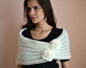 Spring princess -  wedding bridal bridesmaid shrug bolero cover up cowl- mohair yarn lace knit knitted - cream white Etsy