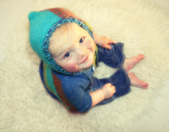 SALE Hand knit hoodie baby boy / girl
