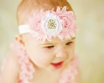 Pink & White Shabby Headband Shabby chic Headband Baby headband flower headband baby girl headband