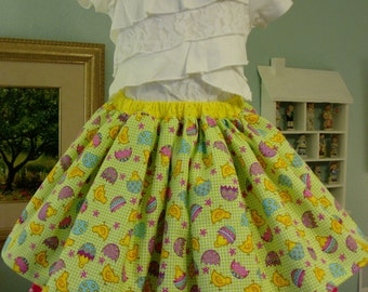 Easter/Spring Ruffles & Gathers Skirt Size 5 Colorful Chicks and Eggs Print