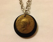 Recycled Greek Cameo brass vintage earring necklace