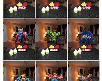 "DIY 12"" Small Super Hero Squad Birthday Party Centerpieces with FREE Supply Kit baby shower 1st Birthday Mitzvah Superhero"