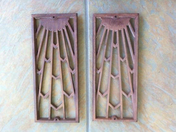 ON RESERVE for Tave Art Deco Sunburst Metal Panels Pair