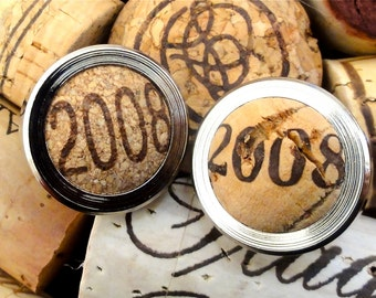 Cufflinks - 8th Anniversary Gift for Him - Custom Cufflinks - Wine Cork Cufflinks for Him - Eight Year Wedding Anniversary Gift for Husband