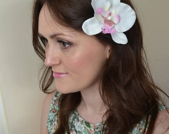 Large White & Purple Orchid 1950s Rockabilly Hair Clip Wedding Bridal