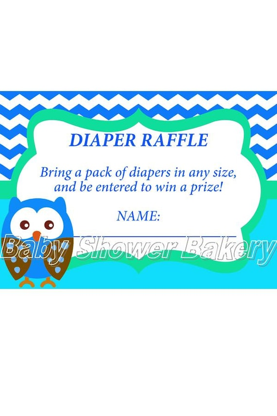 raffle ticket boy owl baby shower game instant download baby shower