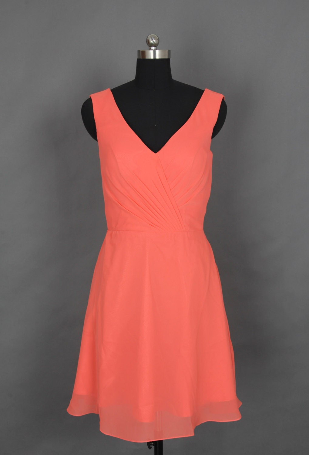 Coral V-neck Short Bridesmaid Dress/Prom Dress by harsuccthing