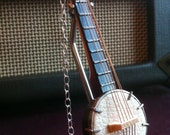 Banjo Necklace on Long Antiqued Chain