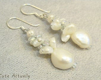 White freshwater pearl earrings with crystal and glass beads, bridal, dangle - sterling silver ear wires